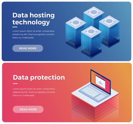 Internet equipment industry. Data transmission technology and data protection. Illustration of network telecommunication server. Protecting your personal information. 3d isometric flat design. Vectores