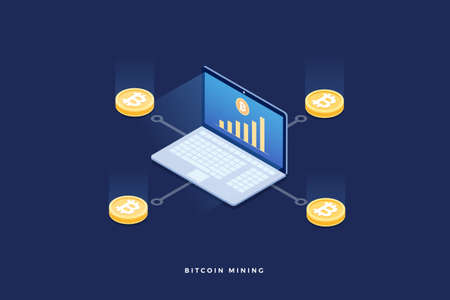 Scheme of the emergence of bitcoin. Cryptocurrency mining on laptop pc. 3d isometric flat design. Vector illustration.