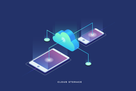 Cloud storage, data transfers on Internet from gadget to gadget. 3d isometric flat design. Vector illustration. Ilustrace