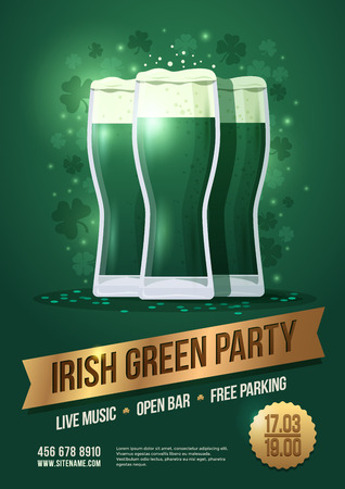 St. Patricks Day, holiday poster with three beer glasses and lettering on golden ribbon: Irish green party, vector illustration. Illustration