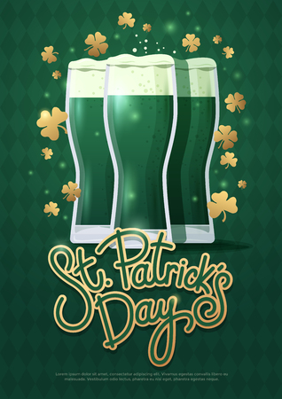 Design concept with three beer glasses and lettering: St. Petersburg Patrick's day. Perfect for advertising, invitation, poster, greeting card, banner, celebration, restaurant and bar menu vector illustration.