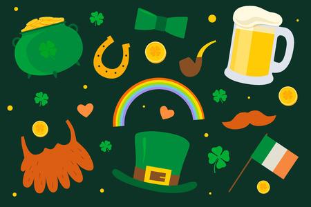Saint Patricks Day set traditional elements: hat, pot of gold, smoke pipe, flag of Ireland, horseshoe, clover, beard, mustache, beer pint on green background. Illustration