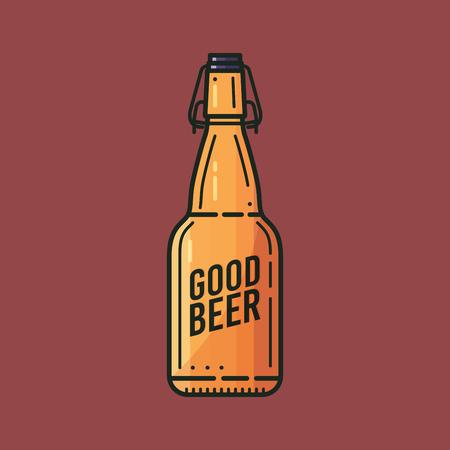 Bottle of good beer with traffic jam. A vector Illustration. Illustration