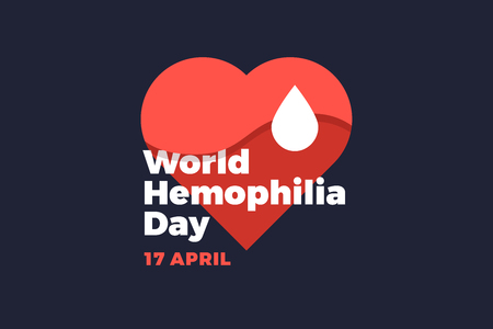 World Hemophilia Day. Emblem depicting red heart and white drop of blood on dark background. Vector illustration.