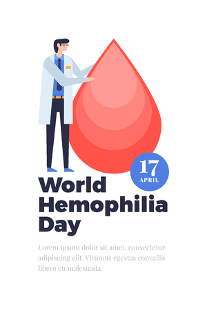 Hemophilia World Day Poster. Doctor in white coat holding red drop of blood. Vector flat illustration.
