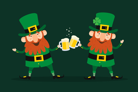 Saint Patricks Day. Set of two funny Leprechauns with beer pints on green background. Ilustrace