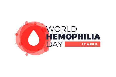 Hemophilia World Day poster, emblem medical sign for 17th of April. White drop of blood in an abstract red circle on white background vector illustration.