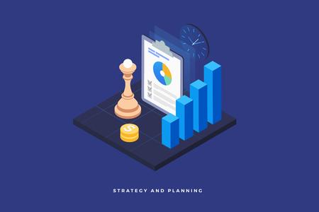 Estrategia y planificación, análisis de proyectos, informes financieros y desarrollo exitoso de negocios. Pieza de ajedrez en el tablero, infografía, dinero y reloj. Diseño plano isométrico 3d. Ilustración vectorial
