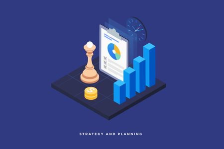 Strategy and planning, analyzing project, financial report and successful business development. Chess piece on the board, infographic, money and clock. 3d isometric flat design. Vector illustration. Stock Illustratie