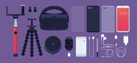 Set of phone accessories: smartphone, power bank, charger, mobile phone lens, flash card, headphones, stylus, 3D reality glasses, selfie stick, tripod, protective film and watch. Vector illustration.  イラスト・ベクター素材