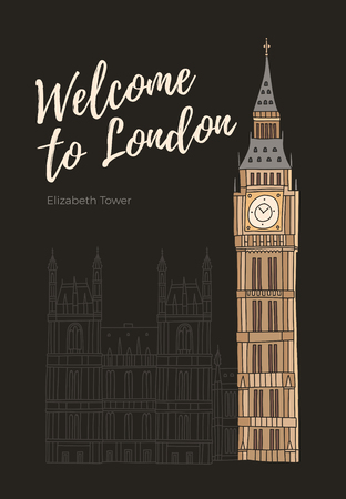 Inscription Welcome to England and hand-drawn drawing of London on black background. Palace of Westminster and tower of Elizabeth with clock of Big Ben. Vector illustration.