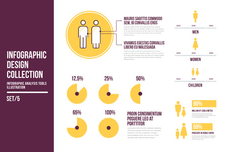 Design elements of infographics on topic of demography. Image of round diagrams, information data, statistic people, infographic analysis tools illustration. Vector set of abstract virtual elements.