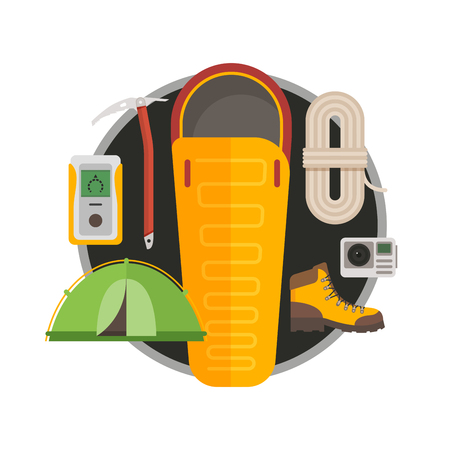 Set of equipment for travel, recreation, adventure. Outfit of traveler: sleeping bag, ice ax, trekking shoes, action camera, tent, rope climber. Vector illustration flat style.