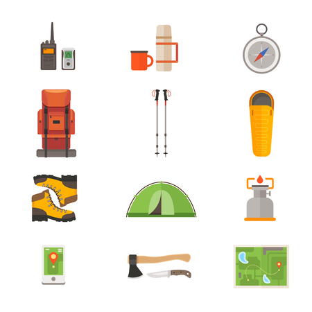 Set of icons on the theme of travel gear: backpack for hiking, tent for tourism, thermos, map, compass, sleeping bag, ax, navigator, hiking boots. Travel and tourism concept.