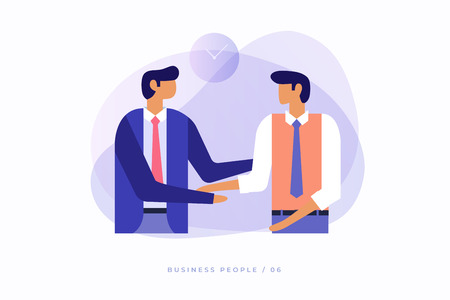 Two young businessmen talking to each other and shaking hands. Vector illustration, flat design. Illusztráció