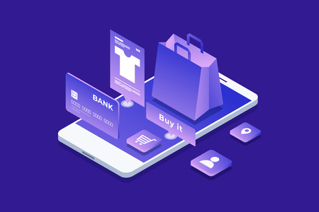Concepto de tienda online, compras online. Imagen isométrica de teléfono, tarjeta bancaria y bolsa de compras sobre fondo azul. Diseño plano 3d. Ilustración vectorial.