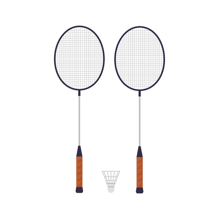 Rackets of badminton, isolated on white background. Sport game. Vector illustration.