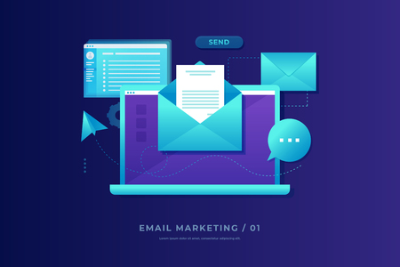 Email marketing concept. Laptop with envelope, open email and message on screen. Communication, information dissemination, sending email. Flat vector illustration. Ilustrace