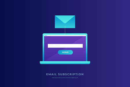 Communication concept, information dissemination, sending email. Laptop with open screen, postal envelope on blue background. Communication, information dissemination. Flat vector illustration.