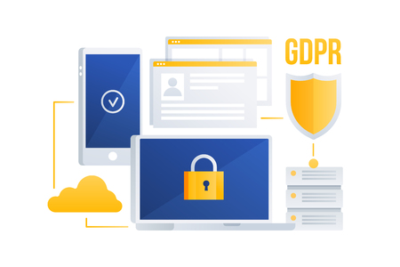 GDPR concept. General Data Protection Regulation. Protection of personal data. Images of server, laptop, cloud storage, mobile phone. Vector illustration.