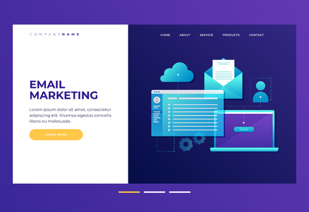 Header for website. Concept of web development. Communication concept, information dissemination, sending email. Laptop with open screen, open email and cloud storage. Flat illustration.