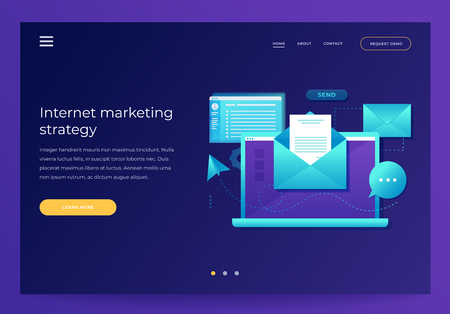 Design template for Landing Page. Email marketing concept. Laptop with envelope, open email and message on screen. Communication, information dissemination, sending email.