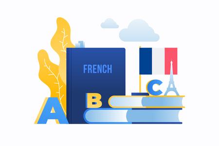 Estudio de lengua extranjera. Imagen de la bandera francesa, el alfabeto, los libros y la silueta de la Torre Eiffel. Concepto de educación.