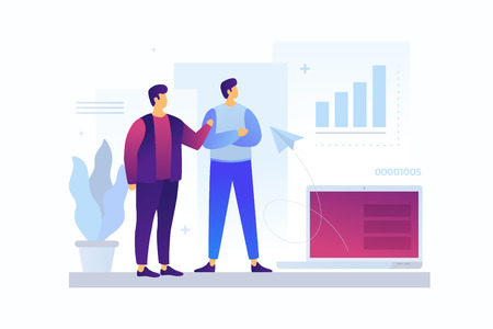 Two cartoon young businessmen discussing strategy of doing business. Concept of teamwork, exchange of ideas, communication. Entrepreneurs talk about commercial enterprise. Vector flat illustration. Vettoriali