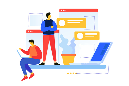 Team of young programmers. Concept of planning project strategy. Search for ideas and brainstorming. Web engineers at work. Process of creating web pages. Vector flat illustration.