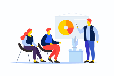 Cartoon people in the team are looking at the pie chart. The young man speaks with his colleagues. Workflow management and data analysis. Vocational training and education. Vector illustration. Vettoriali