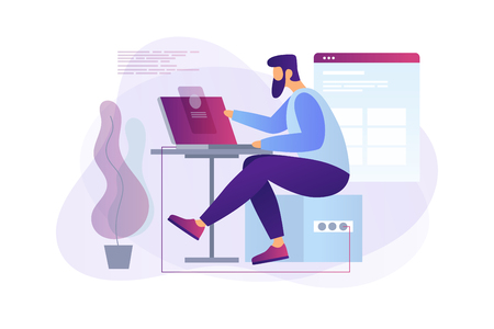 Cartoon programmer at work. Web developer working on laptop in the office. Programming concept. The process of creating web pages. Vector flat illustration. Stock Illustratie