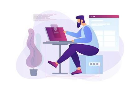 Programmatore di cartoni animati al lavoro. Sviluppatore web che lavora su laptop in ufficio. Concetto di programmazione. Il processo di creazione di pagine web. Illustrazione piana di vettore.