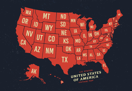 Vintage map of United States of America 50 states
