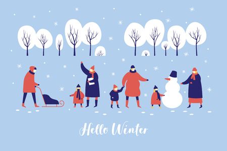 Snowy park People make snowman and sledding in forest. Concept of active recreation. Happy winter holidays. Vector colorful seasonal illustration.