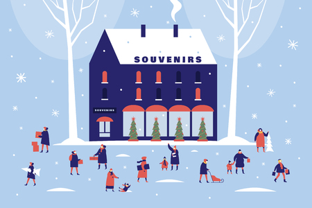 Background of souvenir shop and snow-covered trees. Characters walk with children or carry gifts. Happy winter holidays. Vector colorful seasonal images.