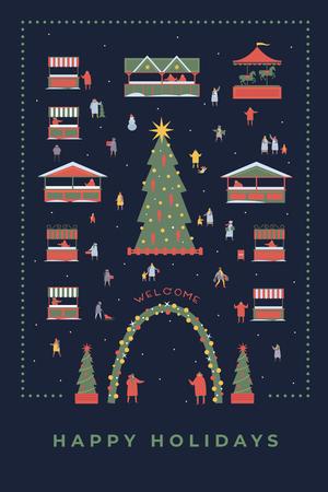 Christmas evening, winter evening. People make holiday shopping. Happy winter holidays. Vector colorful seasonal image. Illusztráció