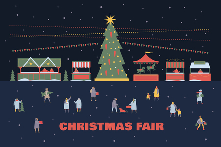 Christmas and New Years fir tree. Fair trade tents and merry-go-round under snowfall. Happy winter holidays. Vector colorful seasonal images.