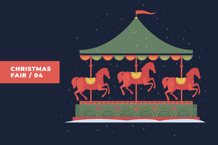 Image of festive carousel with falling snow. Christmas cards and posters. Vector colorful illustration.