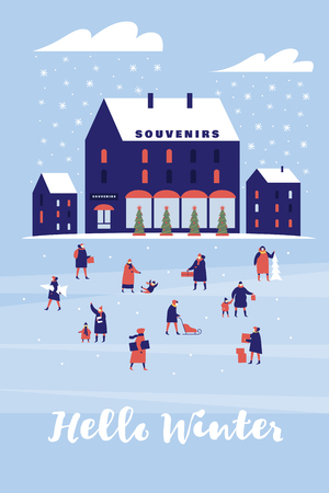 Background with souvenir shop. Characters walk with children or carry gifts. Festive composition for New Year and Christmas. Vector colorful seasonal images.