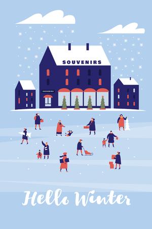 Fondo con tienda de souvenirs. Los personajes caminan con niños o llevan regalos. Composición festiva para Navidad y año nuevo. Imágenes estacionales coloridas del vector.