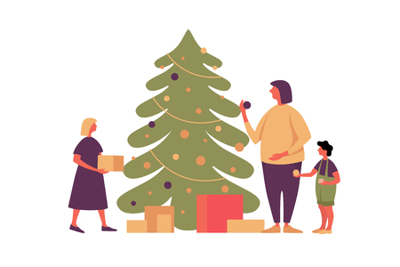 Happy Christmas and New Year. Image of happy family preparing for the holiday. Mom and children decorate the Christmas tree and collect gifts. Festive vector illustration.