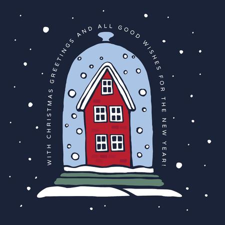 Christmas winter illustration. Old red house backfilled snow on a blue background. Happy winter holidays. Festive seasonal vector illustration. Illusztráció