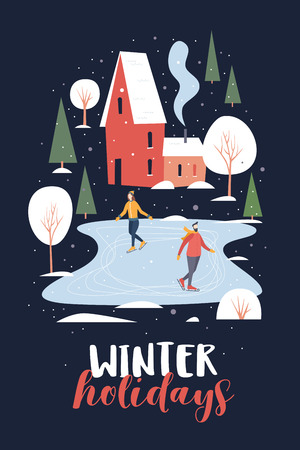Happy winter holidays. An image of people skating. Skaters on a skating rink in a small town covered with snow. Winter outdoor activities and sports. Festive seasonal vector illustration. Illusztráció