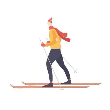 Cartoon young man skiing on an isolated white background. Winter activities and sports. Happy winter holidays. Seasonal vector illustration.