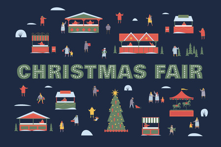 Festive illustration with walking trees, market stalls and carousel. Happy winter holidays. Vector colorful seasonal images.