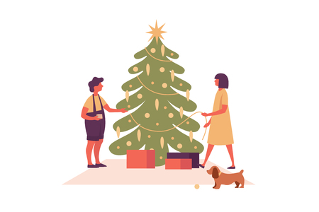 Happy Christmas and New Year. Image of happy family preparing for the holiday. Christmas tree and collect gifts. Festive vector illustration. Illusztráció