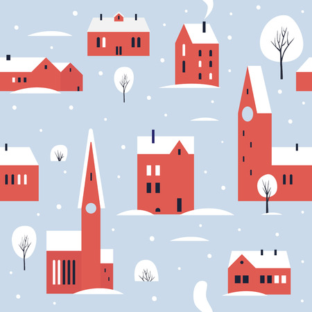 Towers in the snow. Small northern cute town. Seamless pattern for winter, new year and christmas theme. Vector colorful illustration.