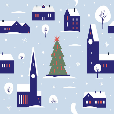 Seamless pattern for winter, new year and christmas theme. Small cute town, decorated with snow. Christmas picture. Vector flat cartoon illustration.