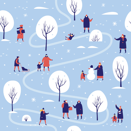 Snowy covered park in winter People make snowman and sledding in the forest. Seamless pattern for winter, new year and christmas theme. Vector seasonal illustration. Illusztráció
