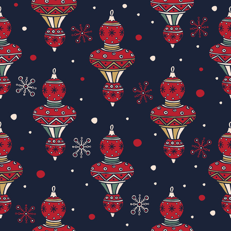 Set of Christmas tree decorations for Christmas fabrics and decor. Merry Christmas and Happy New Year. Seamless pattern for winter, new year and christmas theme. Festive seasonal vector illustration. Illusztráció